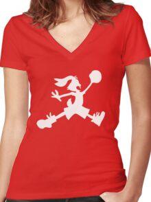 Hare Jordan [White Logo] Women's Fitted V-Neck T-Shirt