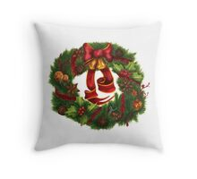 Christmas wreath. Art nouveau. Throw Pillow