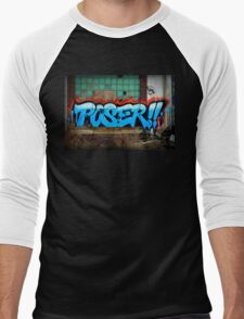 Poser Graffiti At Packard Plant In Detroit Men's Baseball ¾ T-Shirt