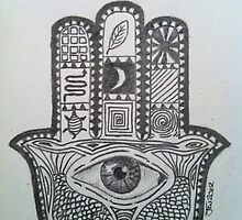 Hamsa Hand Pencil Sketch by joelwilluk
