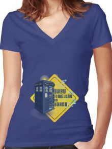 Doctor Who Tardis - Baby Timelord on Board Women's Fitted V-Neck T-Shirt