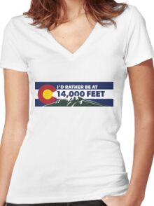 Colorado - I'd Rather Be at 14,000 Feet (long) Women's Fitted V-Neck T-Shirt