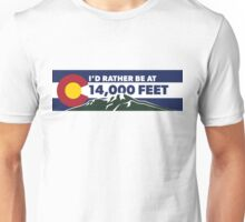 Colorado - I'd Rather Be at 14,000 Feet (long) Unisex T-Shirt