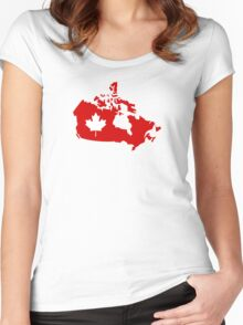 Canada map maple leaf Women's Fitted Scoop T-Shirt