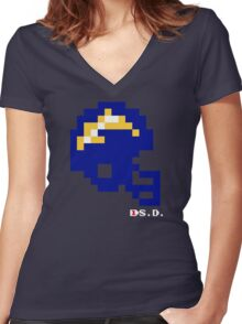 Tecmo Bowl - San Diego - 8-bit - Mini Helmet shirt Women's Fitted V-Neck T-Shirt
