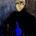 man with blue bottle by glennbrady
