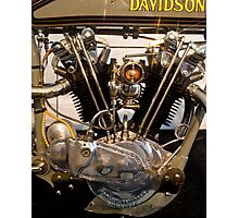 Antique Harley Davidson Motor Photographic Print