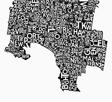 Melbourne Poster - Black on White by citiposters