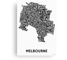 Melbourne Poster - Black on White Canvas Print