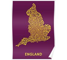 England Poster - Gold on Purple Poster