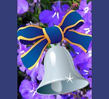 Silver Bell with Royal Blue Ribbon - New Year Card Womens Fitted T-Shirt