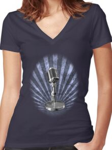 Mic Check Women's Fitted V-Neck T-Shirt