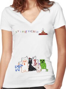 Stinky Picnic - Five Album Characters  Women's Fitted V-Neck T-Shirt