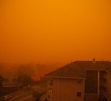 Sandstorm sweeps across houses, Sydney, Australia, 2009 by Sharpeyeimages