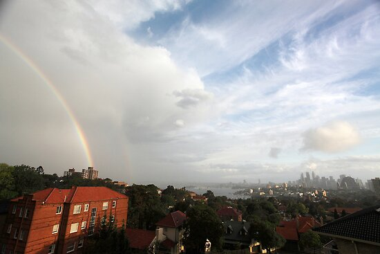 Double rainbow over Sydney skyline, Australia by Sharpeyeimages