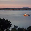 Yacht At Dawn Lady Baron Flinders Island by Andrew  Makowiecki