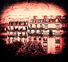 Paris Rooftops in Red by Linde Stewart