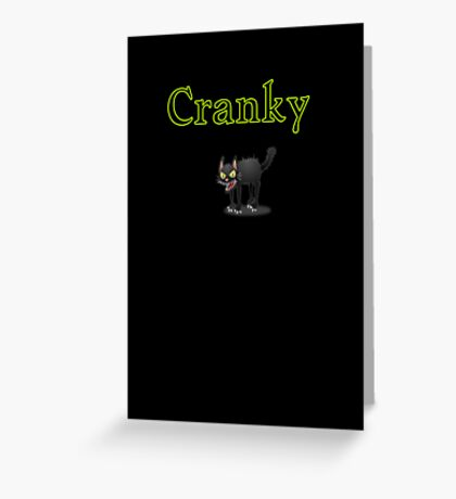 cool cranky black Halloween funny cat Greeting Card