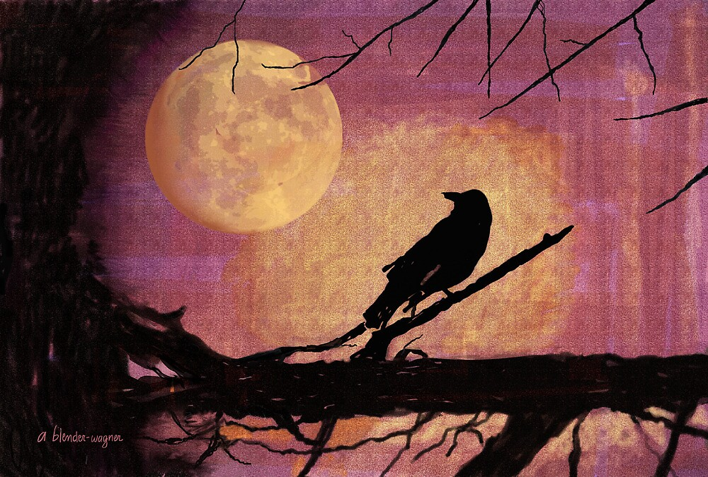 Raven And The October Moon by arline wagner