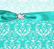 Teal & White Elegant Damask Faux Ribbon & Diamond by GirlyGirl