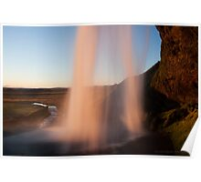 sunset behind a waterfall Poster