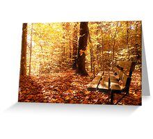 A Forest Bench in a Fall Scene Greeting Card