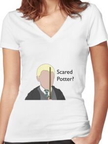 Scared Potter? Women's Fitted V-Neck T-Shirt