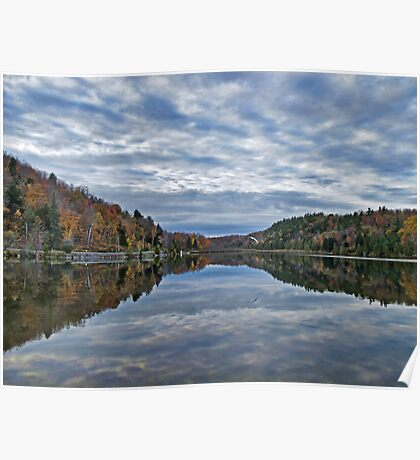 Mirror Lake ~ Fall Forest under Blue Skies & Clouds Poster