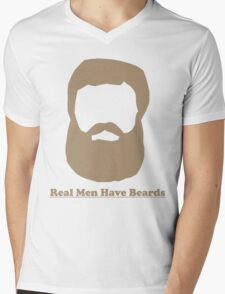 Real Men Have Beards (Brown Beard) Mens V-Neck T-Shirt