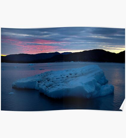 Icebergs Sunset Poster