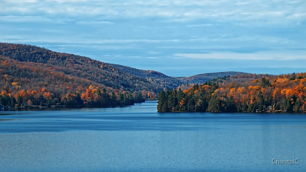Fall Foliage in a Blue Lake and Sky Symphony by Chantal PhotoPix