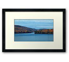 Fall Foliage in a Blue Lake and Sky Symphony Framed Print