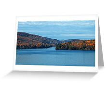 Fall Foliage in a Blue Lake and Sky Symphony Greeting Card