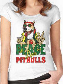 PEACE LOVE AND PIT BULLS Women's Fitted Scoop T-Shirt