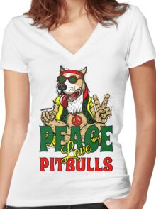 PEACE LOVE AND PIT BULLS Women's Fitted V-Neck T-Shirt