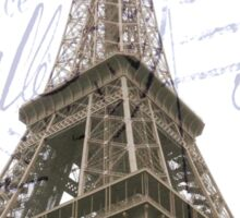 Eiffel Tower Image overlayed with an antique French post card. Sticker