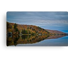 Conifer and Fall Colored Trees Mirrored on Blue Water Canvas Print
