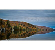 Conifer and Fall Colored Trees Mirrored on Blue Water Photographic Print