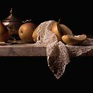 Pears and a Sliver Bowl by Rachel Slepekis