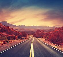 Through Fire - Open Road - Southwestern Landscape by Hillary Fox