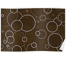 Chocolate Brown & White Rings Poster