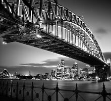 Sydney Harbour Bridge Black & White by mikeofthethomas