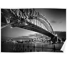 Sydney Harbour Bridge Black & White Poster