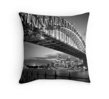 Sydney Harbour Bridge Black & White Throw Pillow