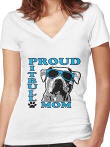 PROUD PIT BULL MOM 2 Women's Fitted V-Neck T-Shirt