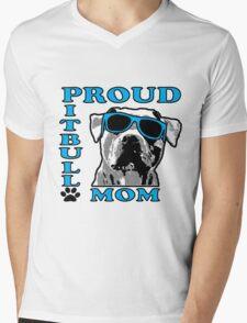 PROUD PIT BULL MOM 2 Mens V-Neck T-Shirt