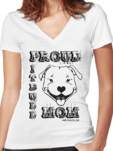PROUD PIT BULL MOM Women's Fitted V-Neck T-Shirt