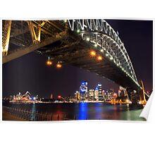 Sydney Harbour Bridge & Opera House at Night Poster