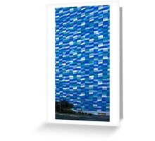 Blue And White Facade With Dumpster Greeting Card