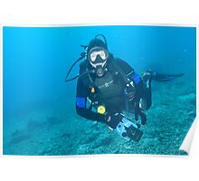 Mike at Makassar Reef Poster
